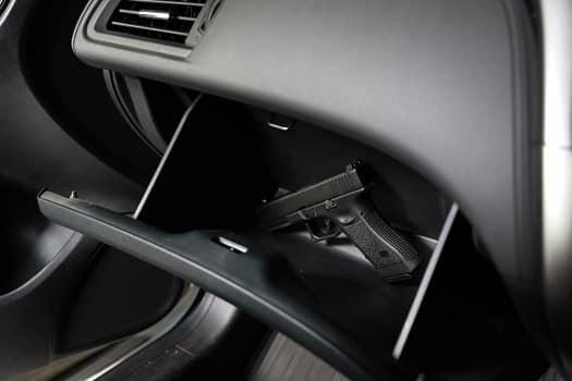 Handgun in a car